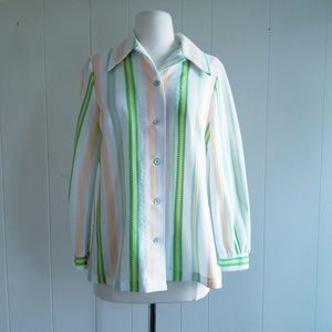 1970s Unlabeled Multi-Color, Poly Button Down